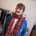 johnstons bath scarf found red tartan
