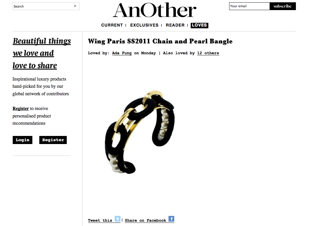 wing pearl bracelet - another mag