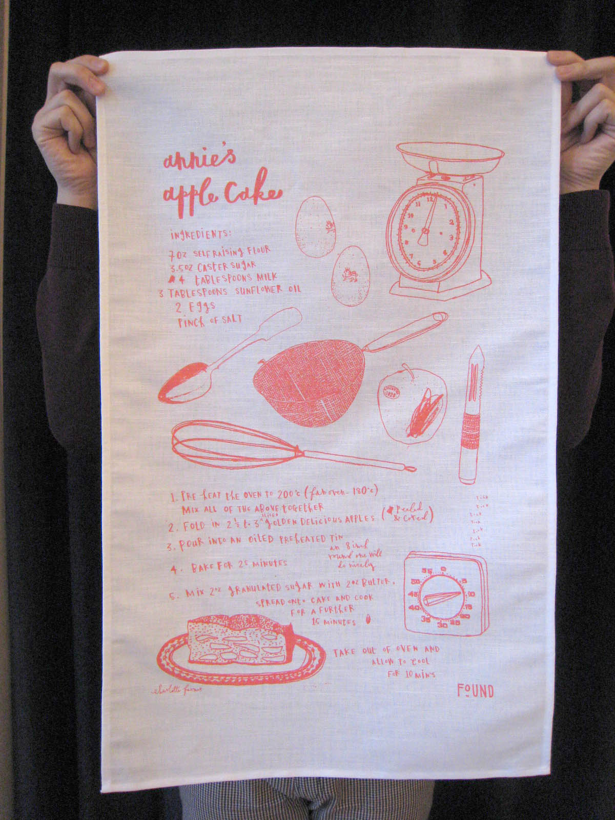 annie's apple cake tea towel charlotte farmer found bath boutique