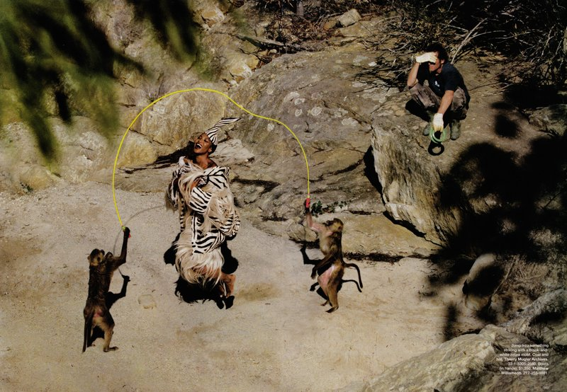 jean-paul goude - harper's bazaar wild things monkey skipping - models dot com