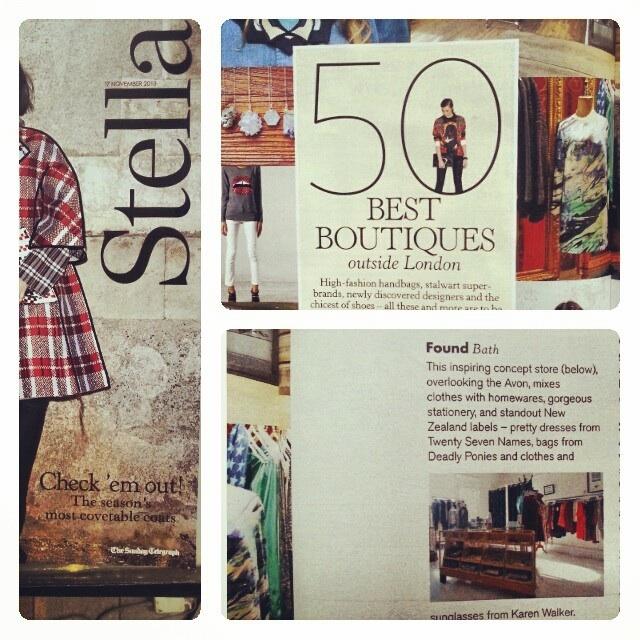 stella, telegraph, top 50, found bath, boutique designer, shop, vogue top 100, glamour, magazine